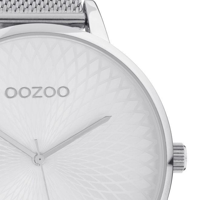 OOZOO Timepieces - ladies  - mesh strap silver with silver  watch case