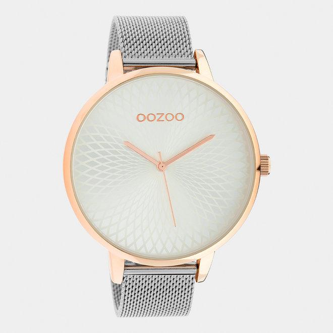 OOZOO Timepieces - dames  - mesh band zilver met rosé goud  horlogekast