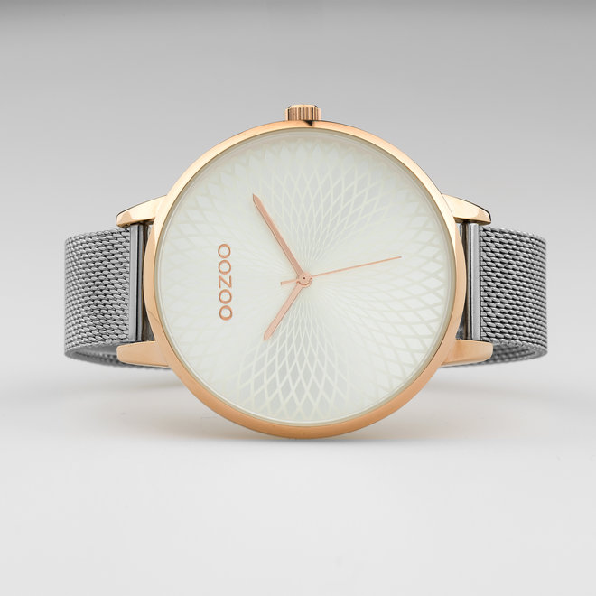 OOZOO Timepieces - ladies  - mesh strap silver with rose gold  watch case