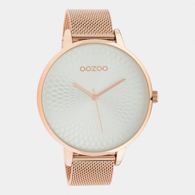 OOZOO Timepieces - femmes - bracelet en mesh or rose met or rose horlogekast