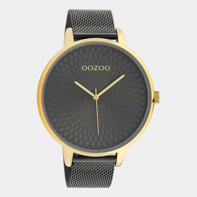 OOZOO Timepieces - dames  - mesh band titanium  / goud