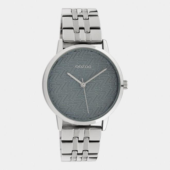 OOZOO Timepieces - dames  - stainless steel armband zilver met zilver horlogekast