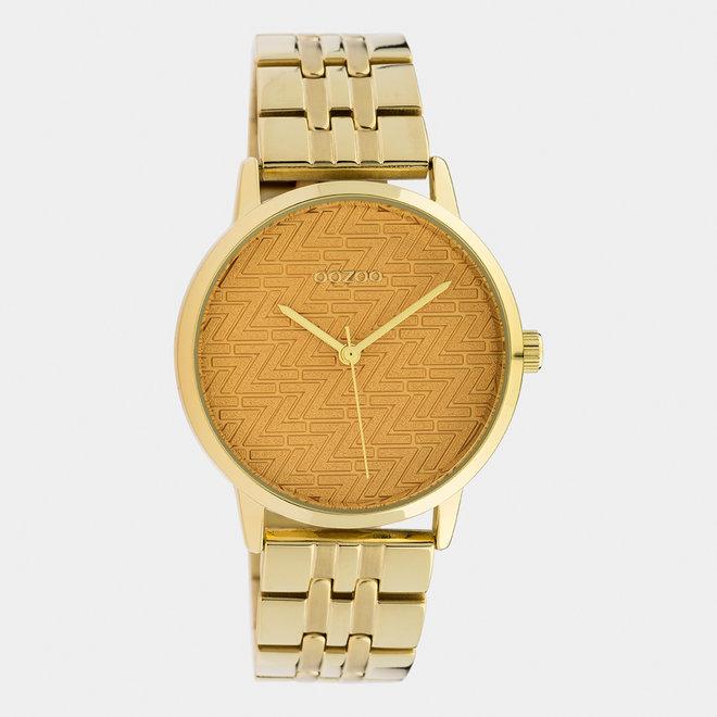 OOZOO Timepieces - dames  - stainless steel armband goud met goud  horlogekast