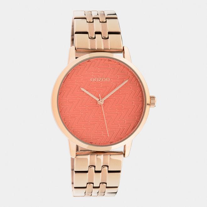 OOZOO Timepieces - dames  - stainless steel armband rosé goud  met rosé goud  horlogekast