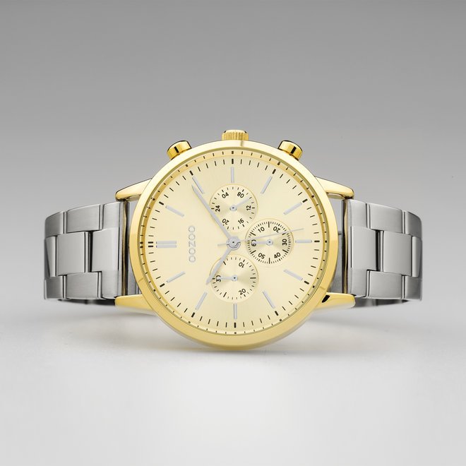 OOZOO Timepieces - unisex  - stainless steel bracelet silver with gold  watch case