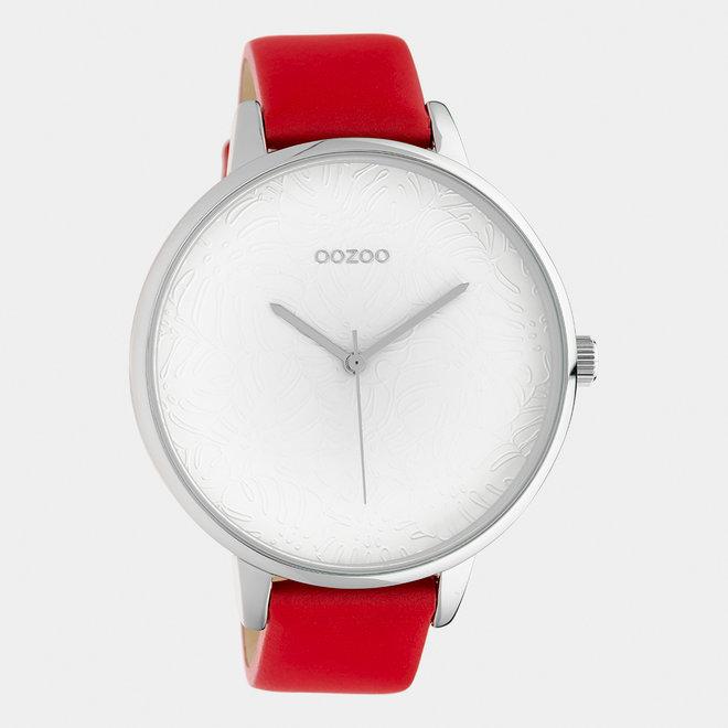 OOZOO Timepieces - dames  - leren band rood / zilver