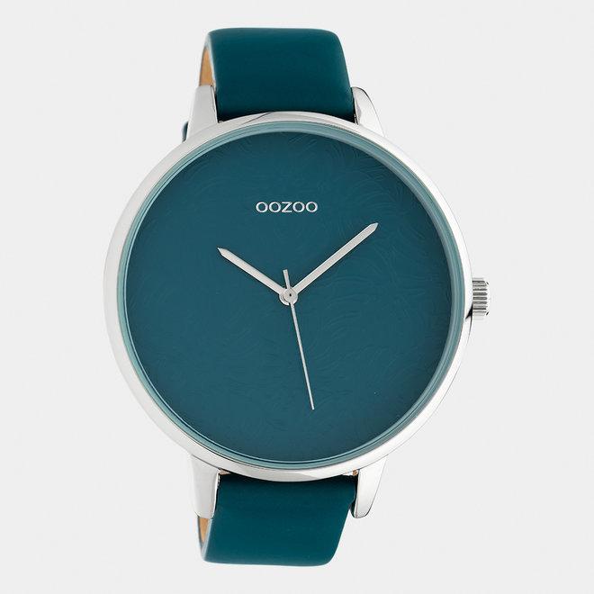 OOZOO Timepieces - dames  - leren band viridian groen / zilver