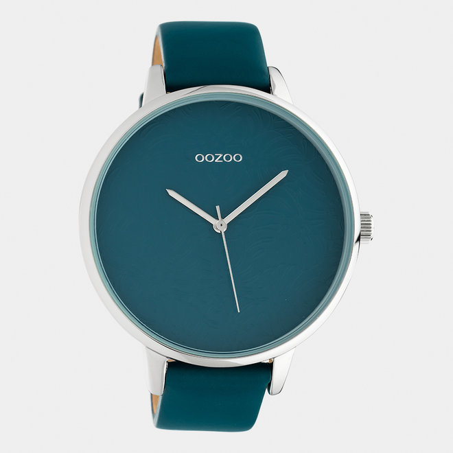 OOZOO Timepieces - ladies  - leather strap viridian green with silver watch case