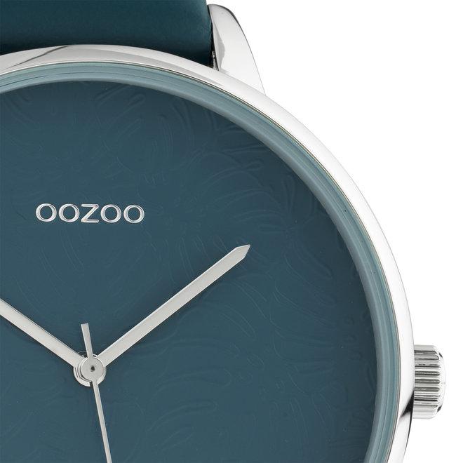 OOZOO Timepieces - femmes - bracelet en cuir viridian vert met argent horlogekast