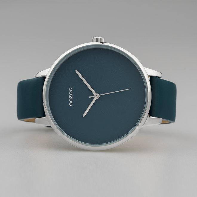 OOZOO Timepieces - dames  - leren band viridian groen met zilver horlogekast