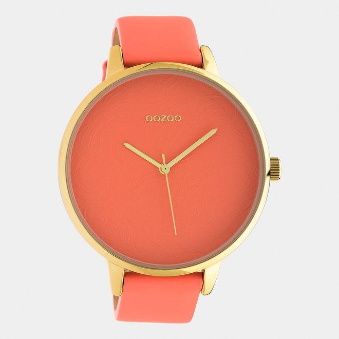 OOZOO Timepieces - dames  - leren band perzik roze  met goud  horlogekast