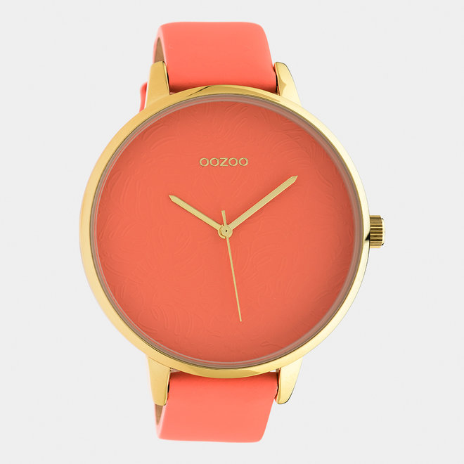 OOZOO Timepieces - ladies  - leather strap peach pink  with gold  watch case