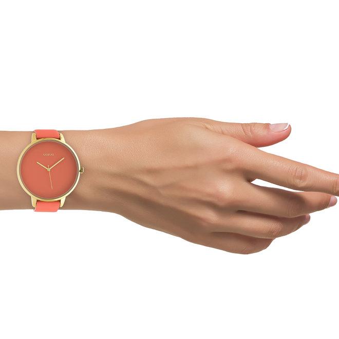 OOZOO Timepieces - femmes - bracelet en cuir rose pêche met or horlogekast