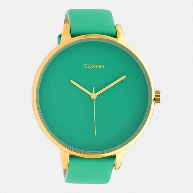 OOZOO Timepieces - dames  - leren band biscay groen  / goud