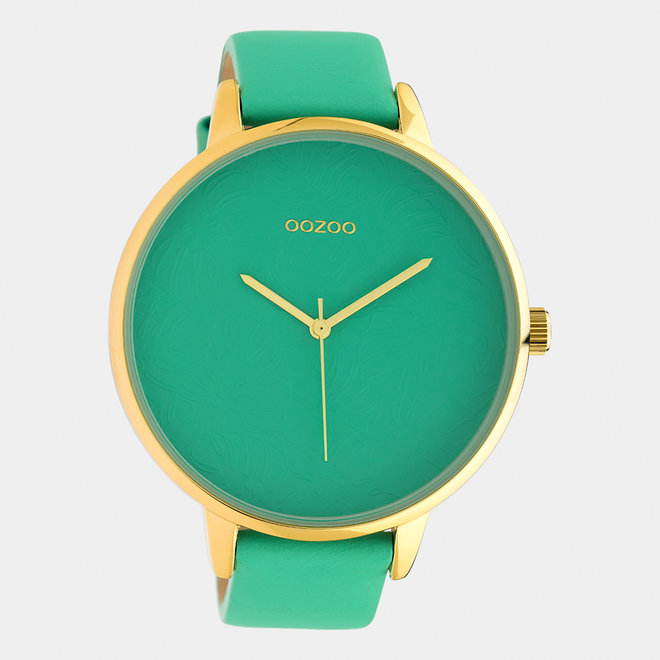 OOZOO Timepieces - ladies  - leather strap biscay green  / gold