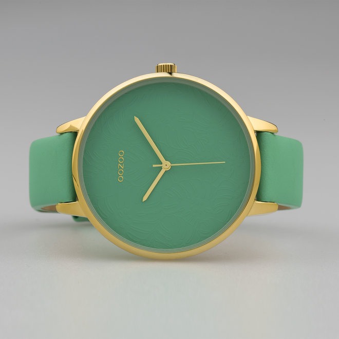 OOZOO Timepieces - ladies  - leather strap biscay green  with gold  watch case
