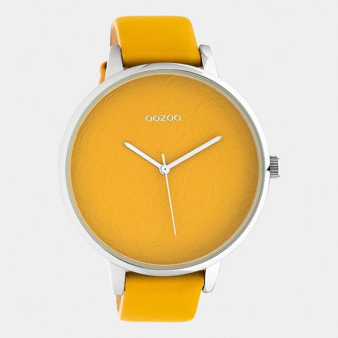OOZOO Timepieces - femmes - bracelet en cuir jaune moutarde / argent