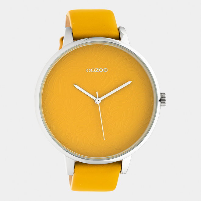 OOZOO Timepieces - ladies  - leather strap mustard with silver watch case