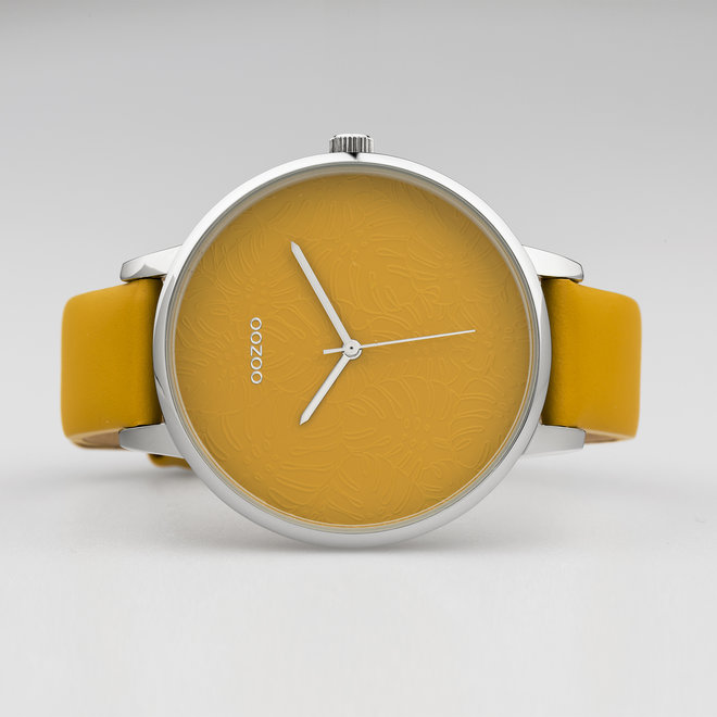 OOZOO Timepieces - dames  - leren band mosterd met zilver horlogekast