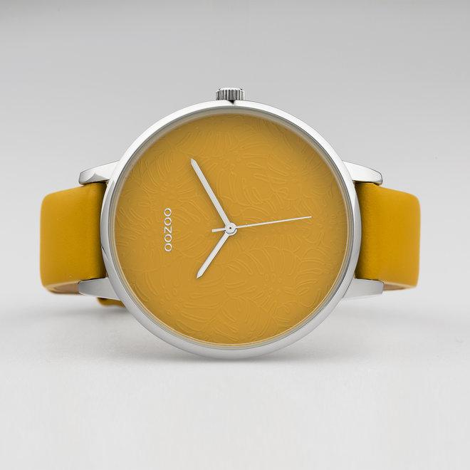 OOZOO Timepieces - femmes - bracelet en cuir jaune moutarde met argent horlogekast
