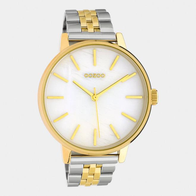 OOZOO Timepieces - unisexe  - bracelet en acier inoxydable argent-or avec boîtier de montre en or