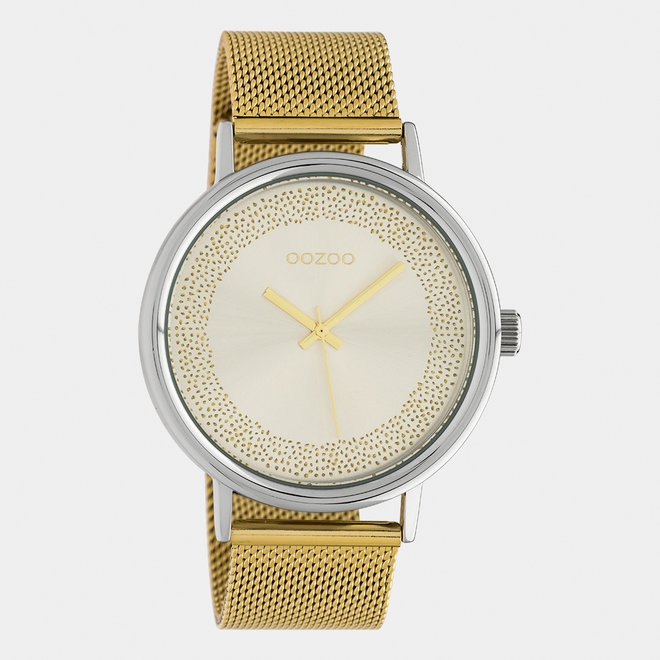 OOZOO Timepieces - dames  - mesh band goud  / zilver