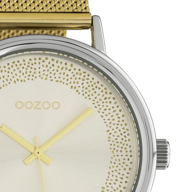 OOZOO Timepieces - femmes - bracelet en maille or avec boîtier de montre en argent