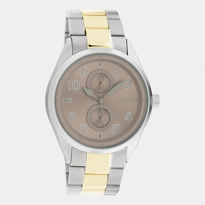 OOZOO Timepieces - unisex  - stainless steel armband zilver-goud / zilver