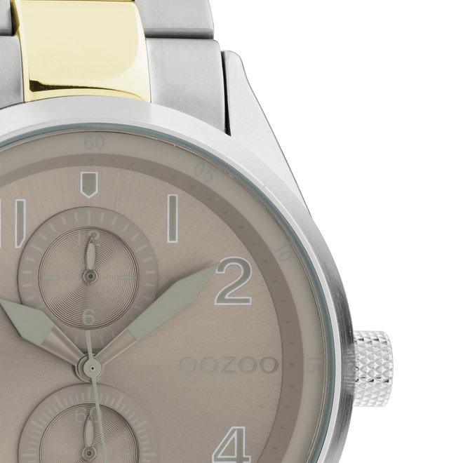 OOZOO Timepieces - unisex  - stainless steel armband zilver-goud met zilver horlogekast