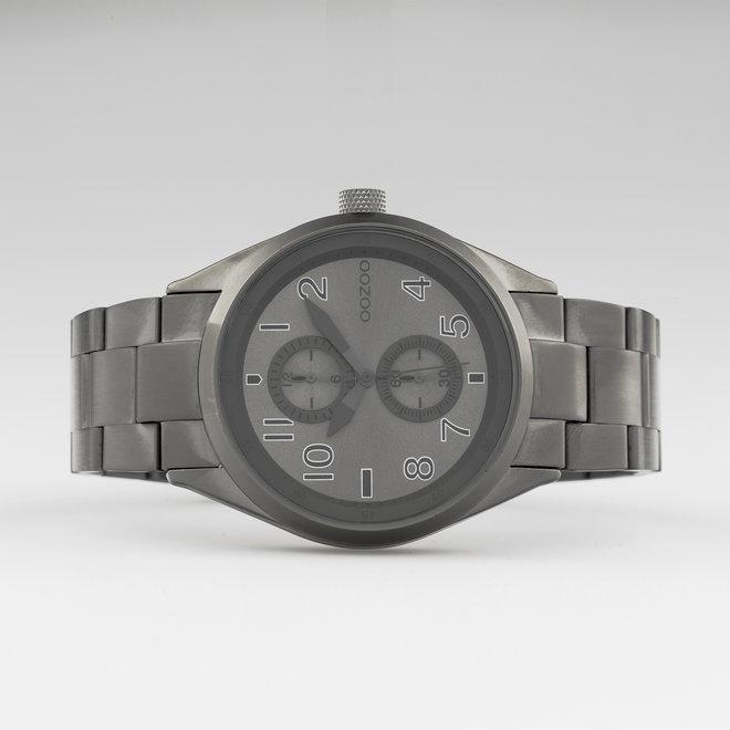 OOZOO Timepieces - unisex  - stainless steel armband titanium met titanium  horlogekast