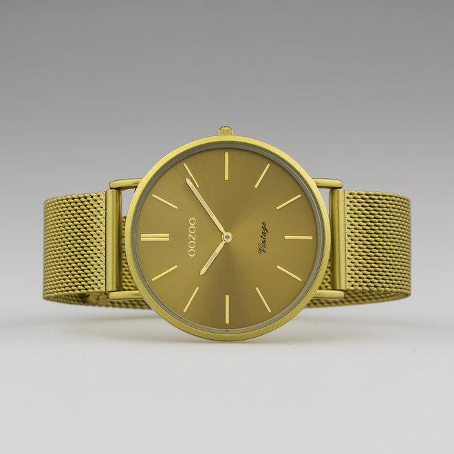 Vintage series - unisex  - mesh strap mustard  with mustard  watch case