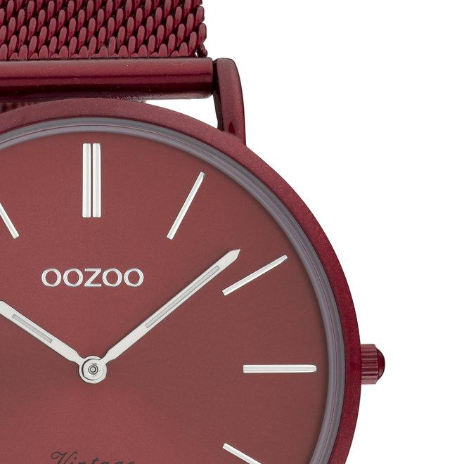 Vintage series - unisex  - mesh strap burgundy  with burgundy  watch case