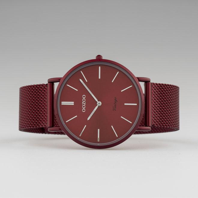 Vintage series - unisex  - mesh band bordeaux  met bordeaux  horlogekast