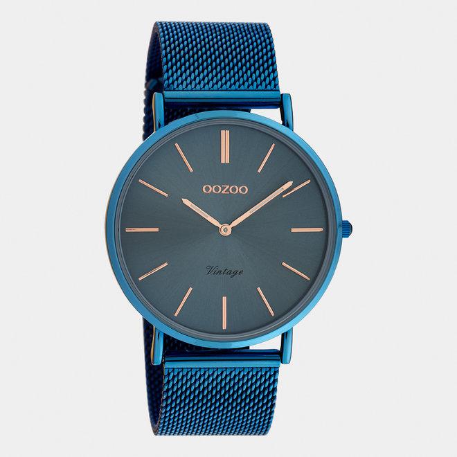 Vintage series - unisex  - mesh strap blue with blue watch case
