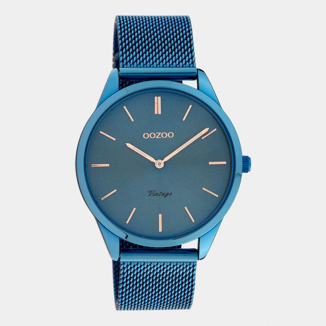 Vintage series - unisexe - bracelet en mesh bleu / bleu