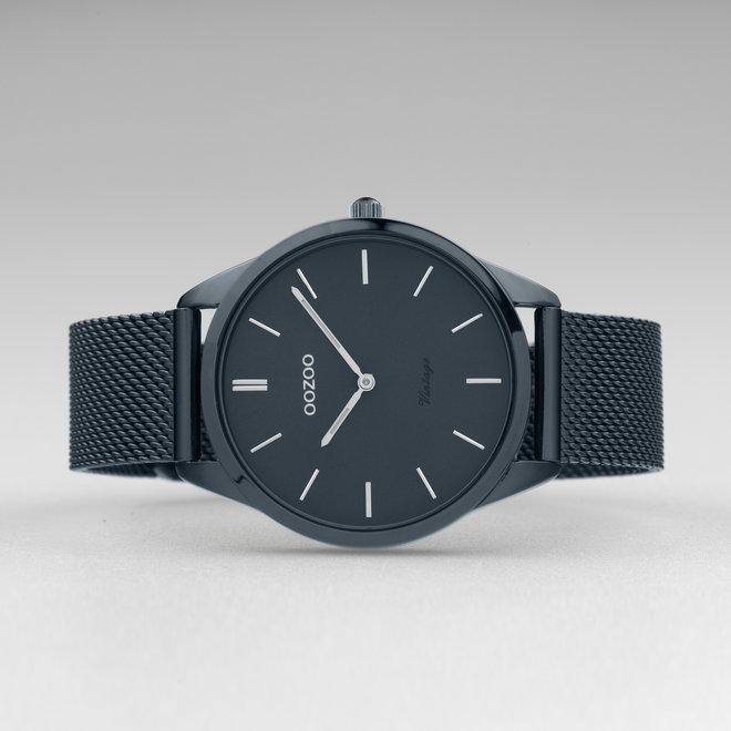 Vintage series - unisex  - mesh band nacht blauw  met nacht blauw  horlogekast