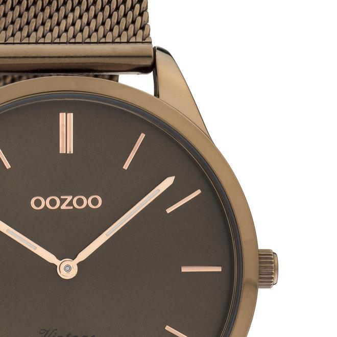 Vintage series - unisex  - mesh strap brown  with brown  watch case
