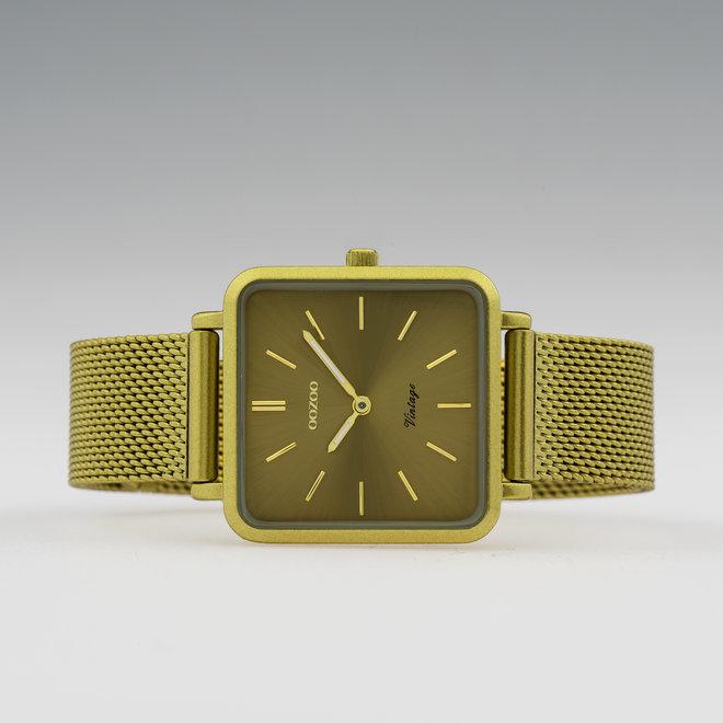 Vintage series - unisex  - mesh band mosterd  met mosterd  horlogekast