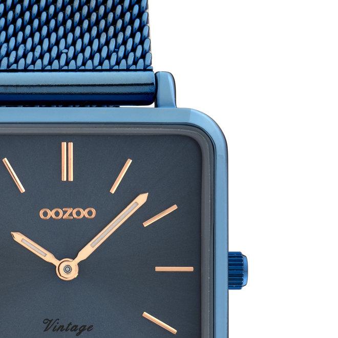 Vintage series - unisex  - mesh band blauw met blauw horlogekast