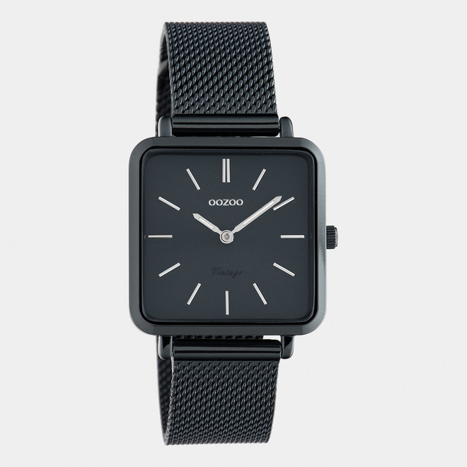 Vintage series - unisex  - mesh strap night blue  with night blue  watch case