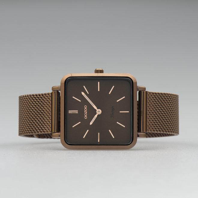 Vintage series - unisex  - mesh band bruin  met bruin  horlogekast