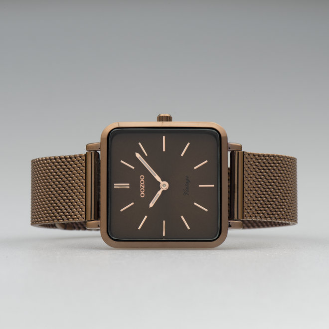 Vintage series - unisexe - bracelet en mesh marron avec marron