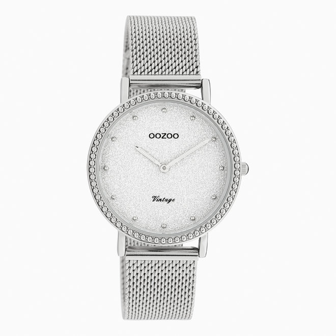 Vintage series - dames - mesh band zilver met zilver horlogekast