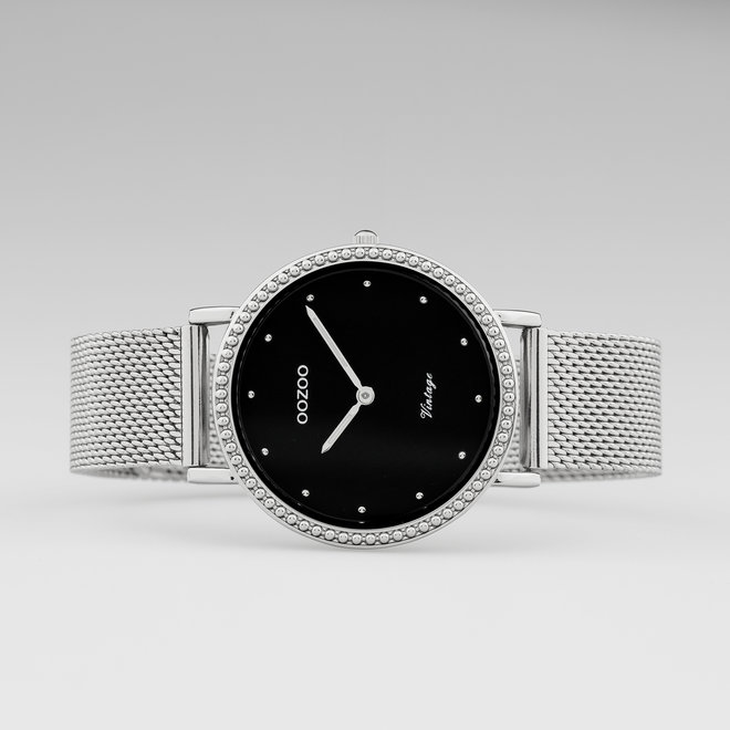 Vintage series - ladies - mesh strap silver with silver watch case
