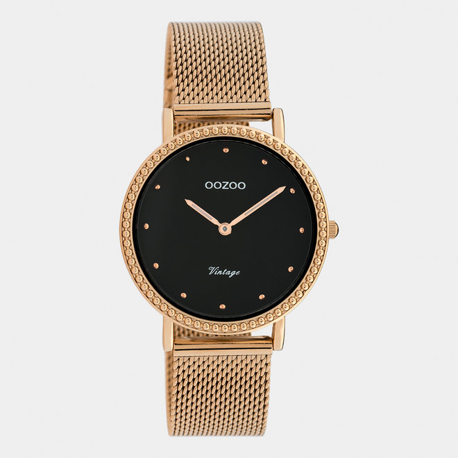 Vintage series - ladies - mesh strap rose gold with rose gold watch case