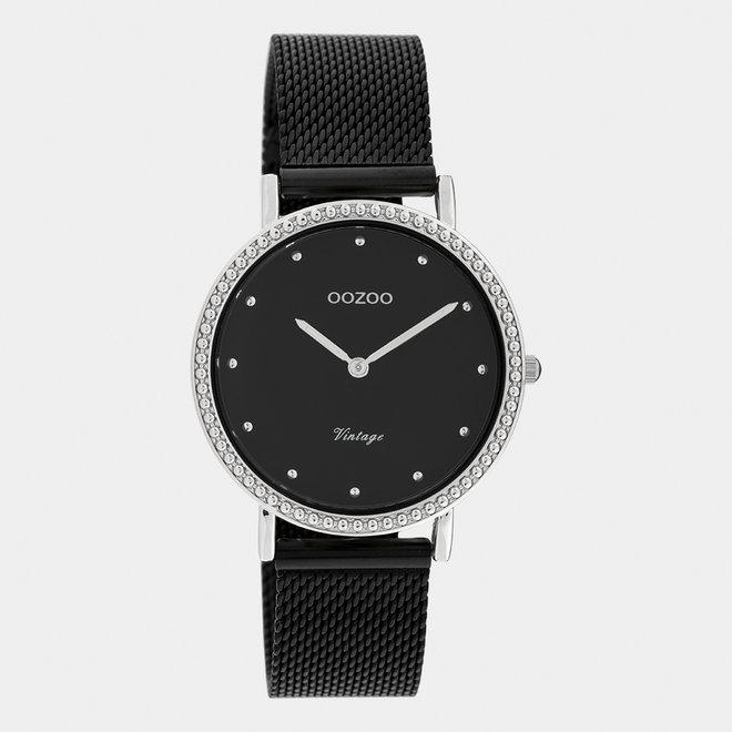 Vintage series - dames - mesh band zwart met zilver horlogekast