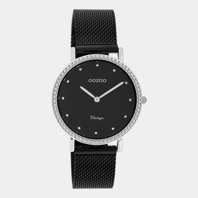 Vintage series - ladies - mesh strap black with silver watch case