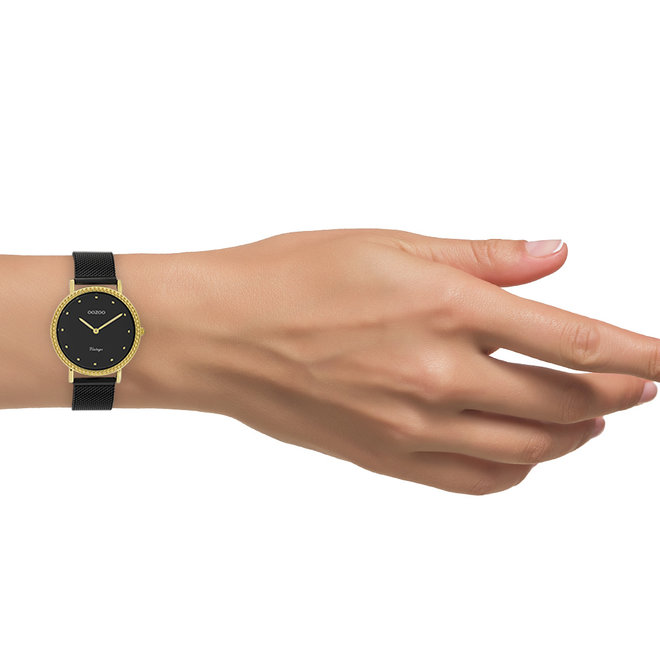 Vintage series - dames - mesh band zwart met goud horlogekast