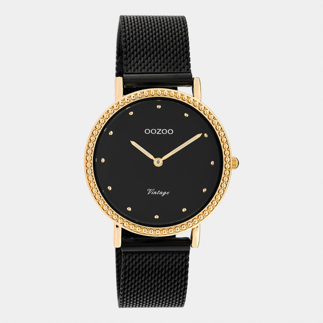 Vintage series - ladies - mesh strap black / rose gold