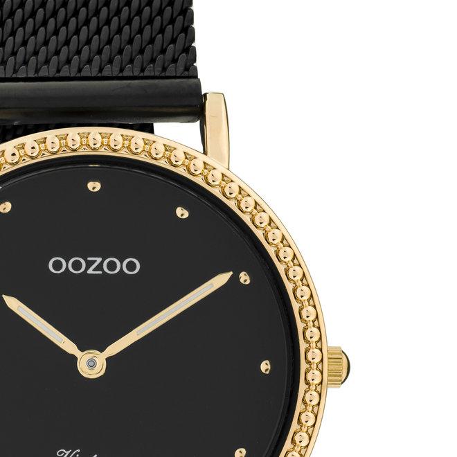 Vintage series - dames - mesh band zwart met rosé goud horlogekast